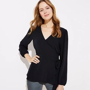 LOFT Black Long Sleeved Flutter Hem Wrap Blouse